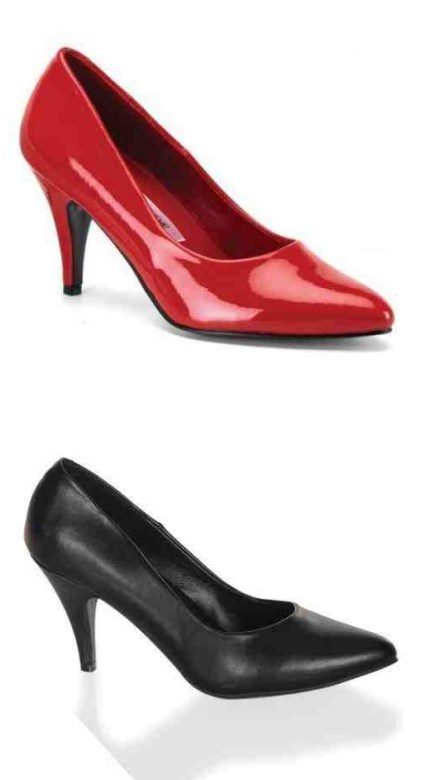 closed pumps in oversizes red or black