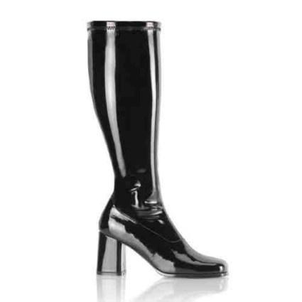 patent leather black heel ladies boots